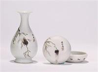 《夏蝉》图文房 (两件) (2 works) by xu zhongnan