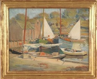 harbor scene, sailboats and multiple figures by t. bailey