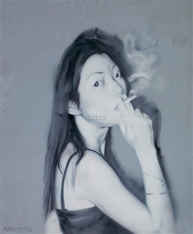 smoking girl by he sen