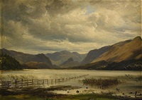 landskap från derwent water, lake district by thomas fearnley