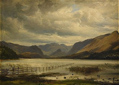landskap från derwent water, lake district by thomas fearnley