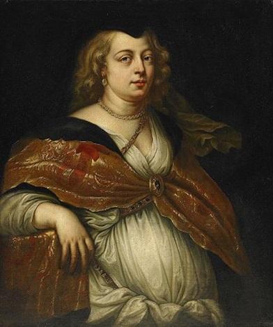 kvinna med pärlhalsband by theodor van thulden