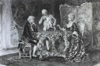 junges paar in einem rokoko-interieur beim schachspiel by ascenzi