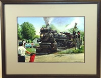 steam train at railroad crossing by tony fachet