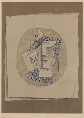verre et journal sold with 236b set of 2 by georges braque