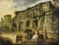 italiensk gatuscen med jägare och hästskötare samlade runt fontän by alexander runciman
