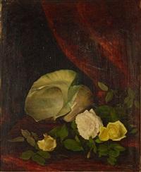 stilleben med snäcka och rosor by olga wisinger-florian
