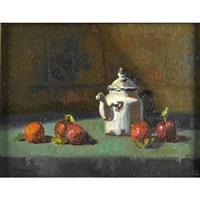 a teapot with apples by robert brackman