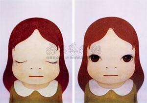 宇宙女孩(闭眼 睁眼) (两件一组) (girl in the universe) (2 works) by yoshitomo nara