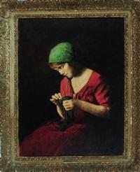 junges mädchen im roten kleid mit grünem kopftuch bei der näharbeit by armin glatter
