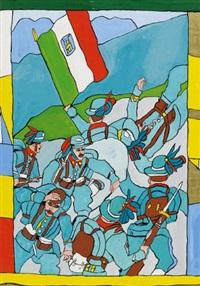 ohne titel (soldaten mit flagge) by josef wittlich