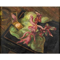 still life of flowers and lady's compact by marian williams steele