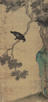 八百长春 (bird and pine tree) by que lan