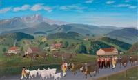 feierlicher appenzeller alpaufzug in sennentracht an einem sonnigen frühlingstag by christian vetsch