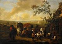 hästmarknad med resande vid tält (+ hästkonvoj med handlare och horvslagare vid värdshus; pair) by jan frans van bredael the elder