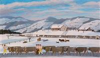 feierlicher appenzeller alpabtrieb in sennentracht an einem verschneiten herbsttag by christian vetsch