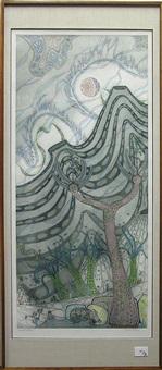 fantasy landscape with bird by jesse allen