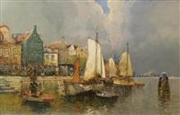 view on dutch city by anton pieck