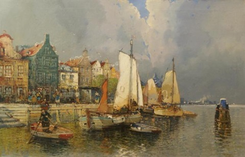 view on dutch city by anton pieck