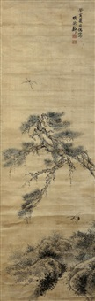 松鹤延年 (crane and pine tree) by xiang dexin