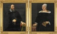 porträtt av kyrkoherden olof aurivillius och hans hustru barbara cassiopæa (pair) by johan aureller the elder
