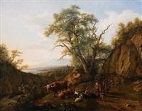 pastoralt landskap med boskap och människor by jean daniel huber