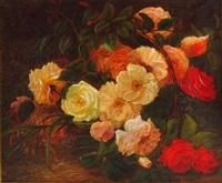 rosenblüten in einem korb by carl bastini