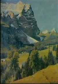 blick auf die schwarzwaldalp unddas wetterhorn im berner  oberland by fritz voirol
