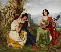 a romantic scene with girl playing lute by frederick richard pickersgill