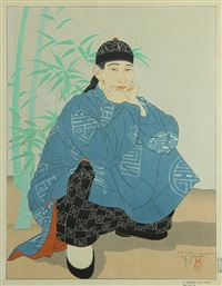l'homme accroupi chinois by paul jacoulet