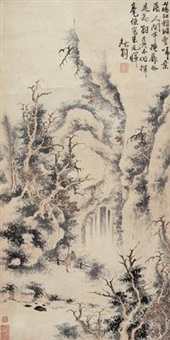秋山观瀑 (character and landscape) by jacobus vonck