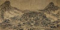 园林幽寂图 (character and landscape) by dong gao