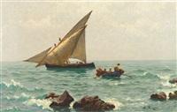 morgenstimmung an der adria mit fischerbooten und langustenfischern by julius friedrich ludwig runge