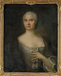 porträtt föreställande anna hellman iklädd grå brokadklänning med rosetter och blå drapering - midjebild by johan stålbom