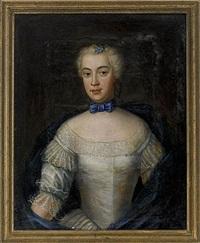 porträtt föreställande en ung friherrinna ur ätten lybecker iklädd vit klänning med spets och djupblå mantilj - midjebild by johan stålbom
