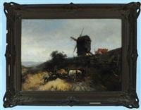 niederländische landschaft mit mühle und bauern bei der getreideernte by heinrich hiller