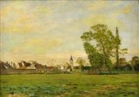 franskt landskap med by by albert gabriel rigolot