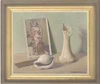 a postcard of a classical figure, a shell and a vase, on a stone ledge by arnold auerbach