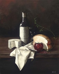 a bottle of wine, cheese and bread, with a jar of cherries to the side by paul karslake