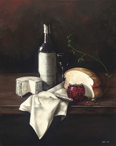 a bottle of wine cheese and bread with a jar of cherries to the side by paul karslake