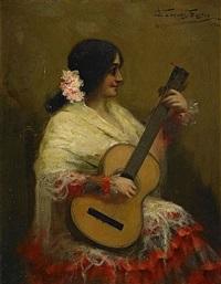 gitarrspelande spanjorska by antonio torres fuster