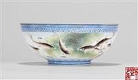 蓝料边饰薄胎鱼藻大碗 (a bowl) by deng xiaoyu
