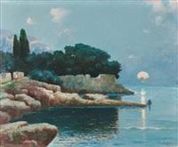 sonnenaufgang über malerischer bucht mit fischern am strand by erminio cremp