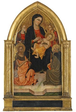 madonnan och barnet med sta lucia sta katarina av alexandria johannes döparen och den helige dominicus by master of san jacopo a mucciana