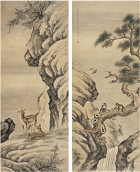 松猿图·双鹿图 (monkey on the pine tree branch·two deers) (2 works) by liu yongliang