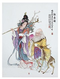 献寿图瓷板 by ren xiping