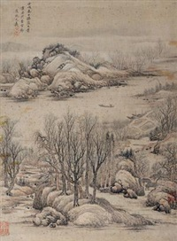 仿燕文贵山水 (landscape) (after yan wengui) by wen jia