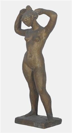 stehender weiblicher akt sich die haare hochsteckend by gustave piguet