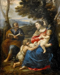 heliga familjen med johannes döparen by guillaume courtois