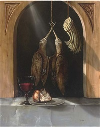 a brace of woodcock, asparagus, a glass of wine, with bread on a platter, in an alcove by paul karslake